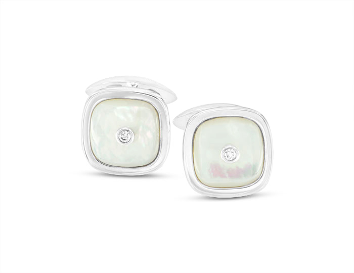 Mother of pearl and diamond cufflinks in silver.
