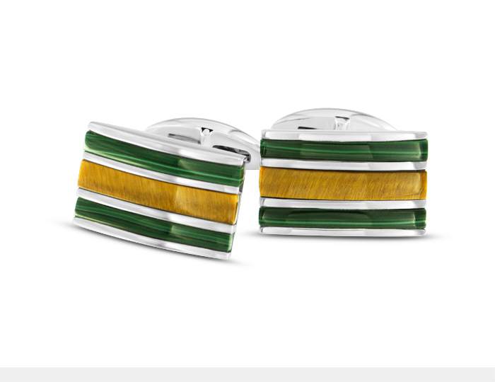 Malachite and tiger's eye cufflinks in silver.