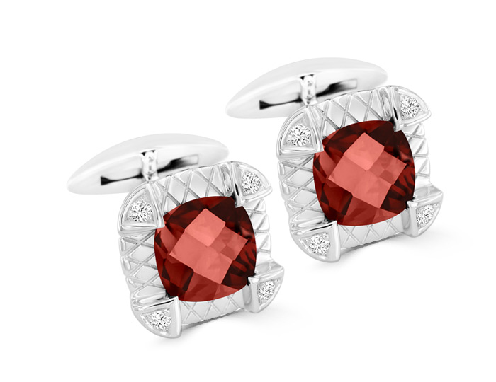 Cushion cut rhodolite garnet and round brilliant cut diamond cufflinks in 18k white gold.