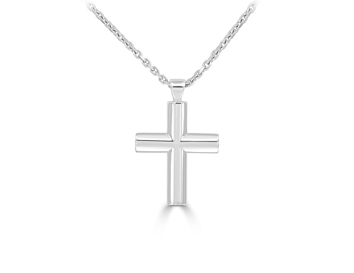 Cross Pendant in 18k white gold.