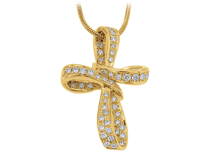 Round brilliant cut diamond cross in 18k yellow gold.