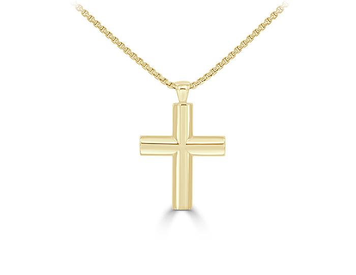 Cross pendant in 18k yellow gold.
