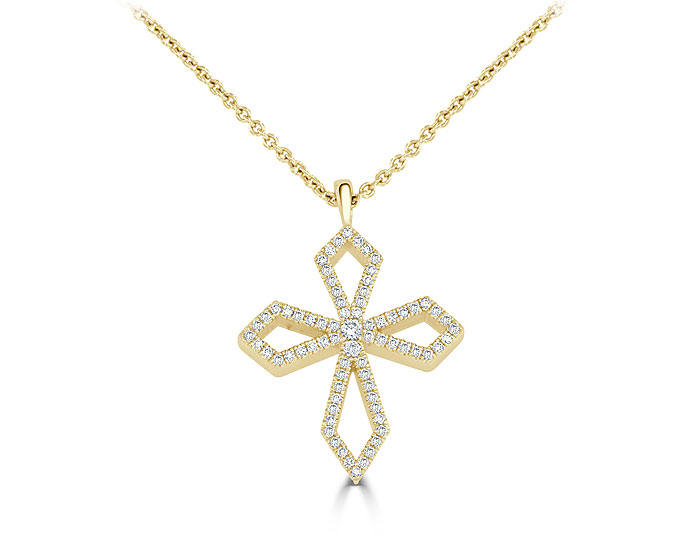 Round brilliant cut diamond cross pendant in 18k yellow gold.
