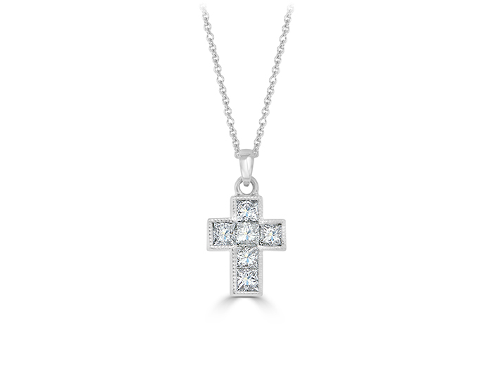 Princess cut diamond cross in 18k white gold.