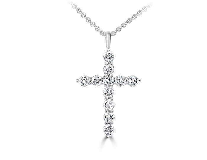 Round brilliant cut diamond cross pendant in 18k white gold.