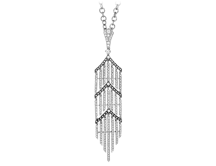 Casato Forget Me Not Collection round brilliant cut diamond pendant in 18k white gold.
