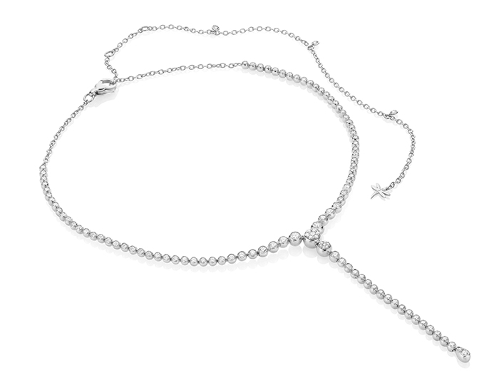 Casato Boutique Collection round brilliant cut diamond necklace in 18k white gold.