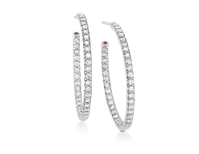 Roberto Coin round brilliant cut diamond hoop earrings in 18k white gold.