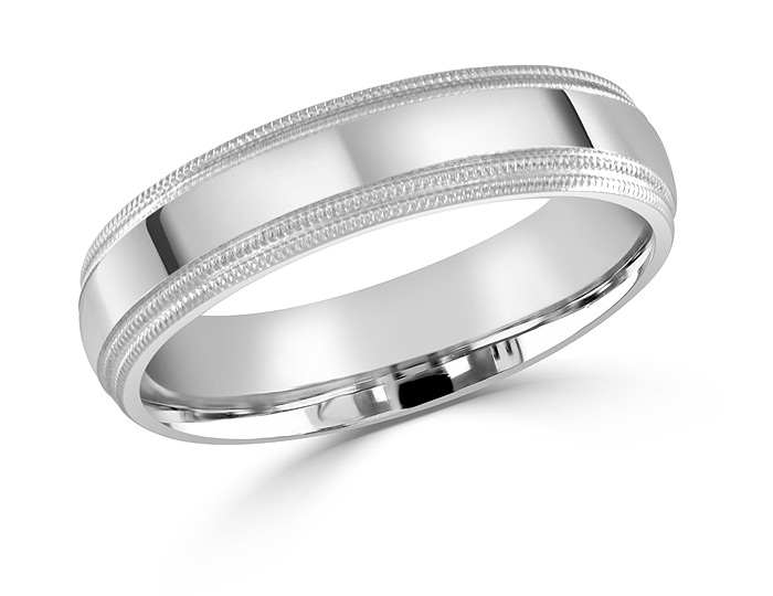 Men's wedding band in 14k white gold.