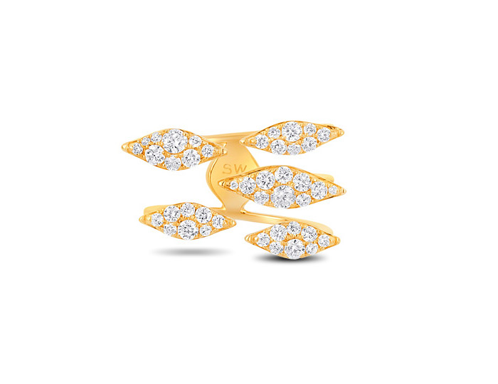 Sara Weinstock Donna collection round brilliant cut diamond ring in 18k yellow gold.