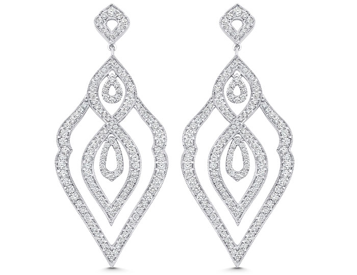 Sara Weinstock Donna Collection round brilliant cut diamond earrings in 18k white gold.