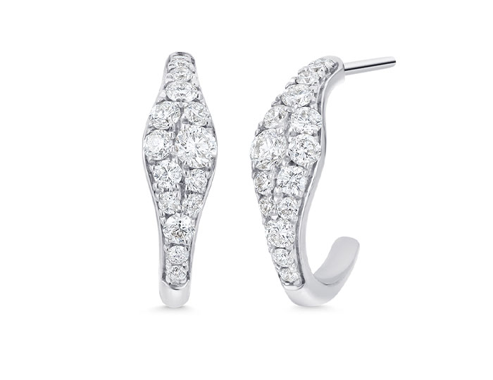 Sara Weinstock Donna Collection round brilliant cut diamond huggie earrings in 18k white gold.