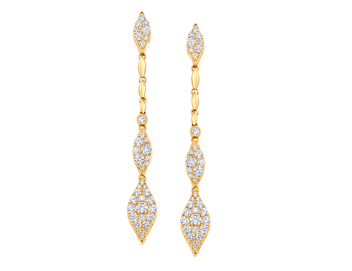 Round brilliant cut diamond dangle earrings in 18k yellow gold.