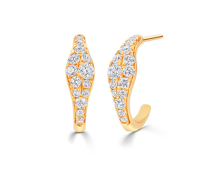 Sara Weinstock Donna collection round brilliant cut diamond earrings in 18k yellow gold.