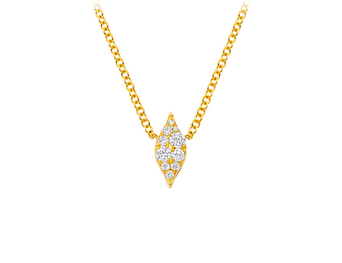 Sara Weinstock Donna collection round brilliant cut diamond necklace in 18k yellow gold.