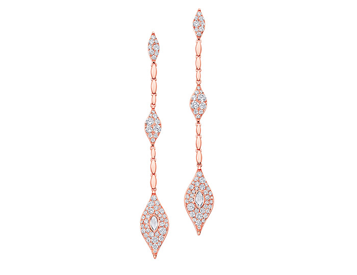 Sara Weinstock Donna collection rose cut and round brilliant cut diamond earrings in 18k rose gold.