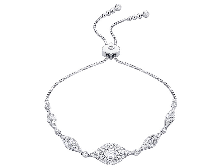 Sara Weinstock Donna collection marquise cut and round brilliant cut diamond bolo bracelet in 18k white gold.
