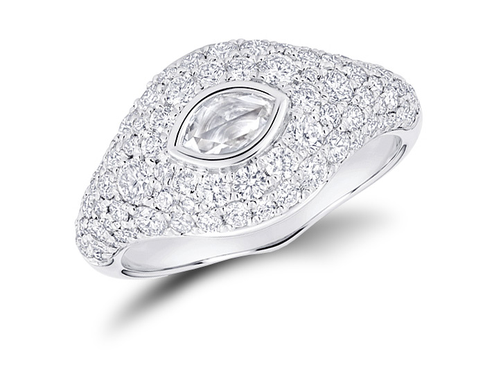 Marquise cut and round brilliant cut diamond signet ring in 18k white gold.