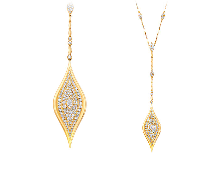 Marquise cut and round brilliant cut diamond Y necklace in 18k yellow gold.