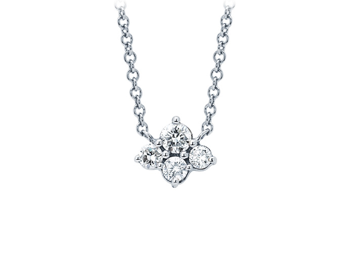 Sara Weinstock Dujour collection round brilliant cut diamond necklace in 18k white gold.