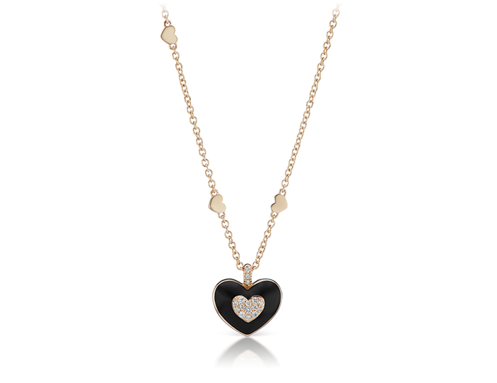 Casato round brilliant cut diamond and enamel necklace in 18k rose gold.