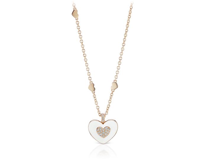 Casato round brilliant cut diamond and white enamel necklace in 18k rose gold.