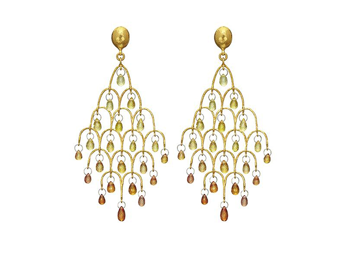 Gurhan Delicate Collection orange and yellow sapphire earrings in 24k yellow gold.