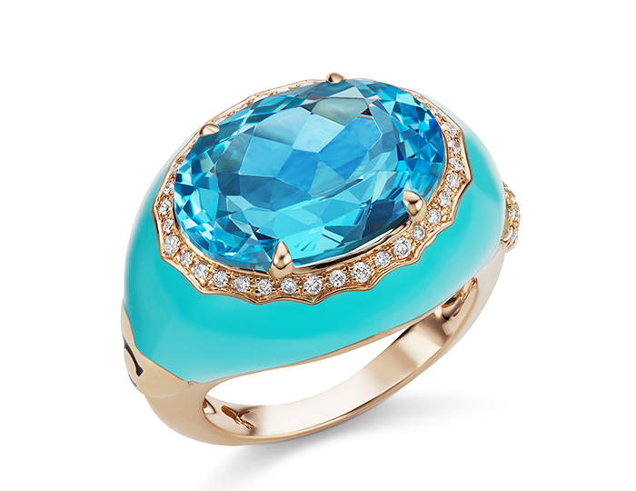 Casato oval cut blue topaz, round brilliant cut diamond and pale blue enamel ring in 18k rose gold.