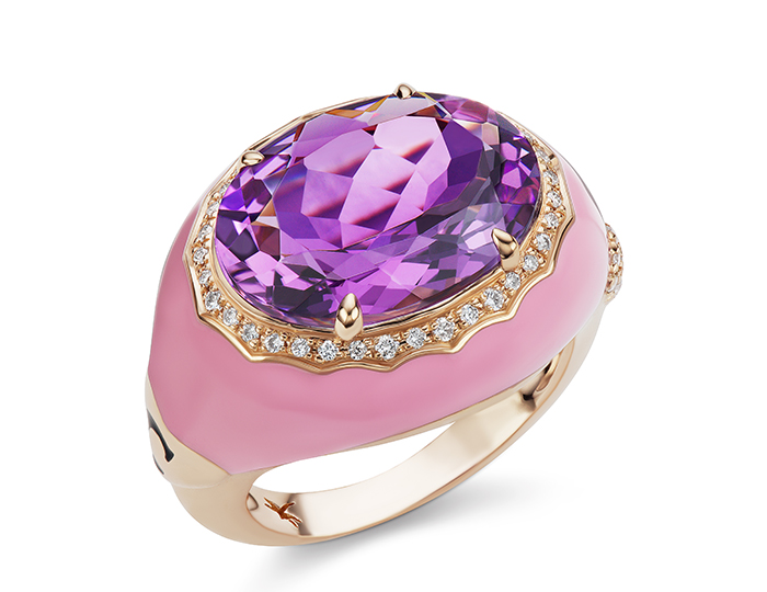 Casato oval cut amethyst, round brilliant cut diamond and pink enamel ring in 18k rose gold.