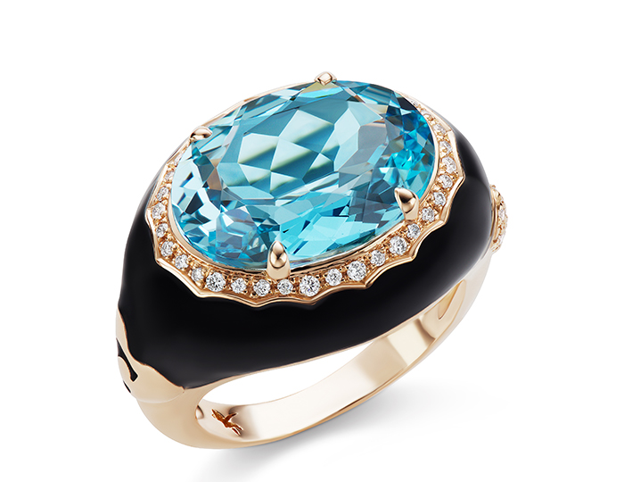 Casato oval cut blue topaz, round brilliant cut diamond and enamel ring in 18k rose gold.