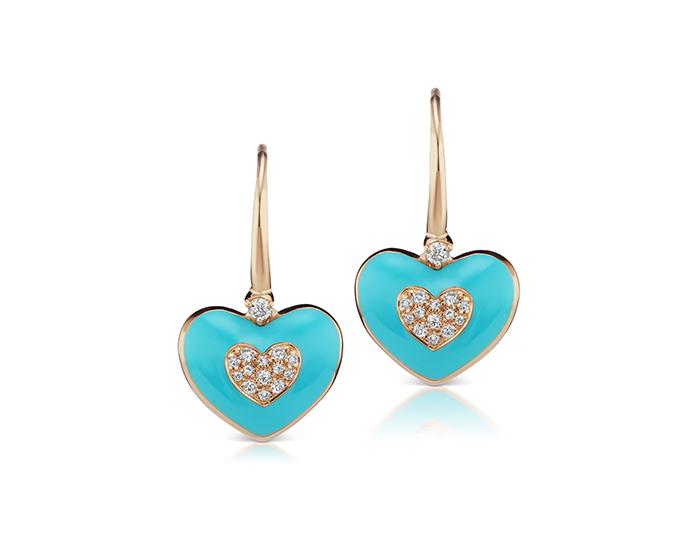 Casato round brilliant cut diamond and blue enamel in 18k rose gold.