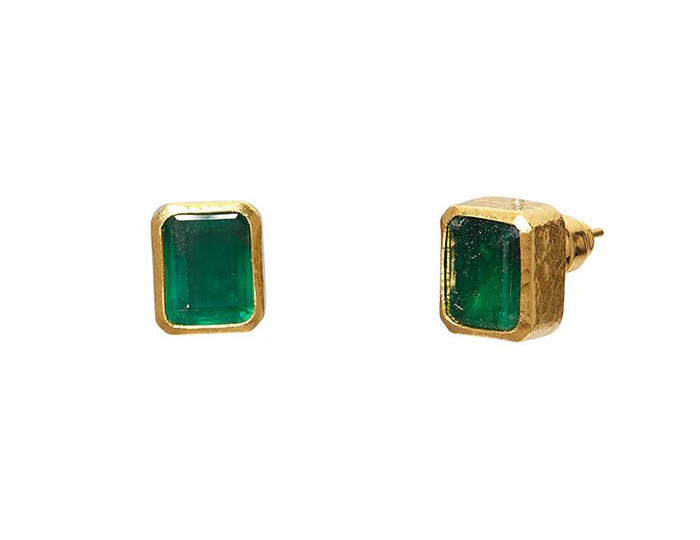 Gurhan Rainbow Collection emerald cut emerald earrings in 24k yellow gold.