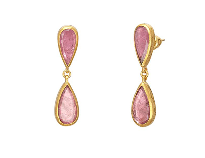 Gurhan Elements Collection pink tourmaline earrings in 24k yellow gold.