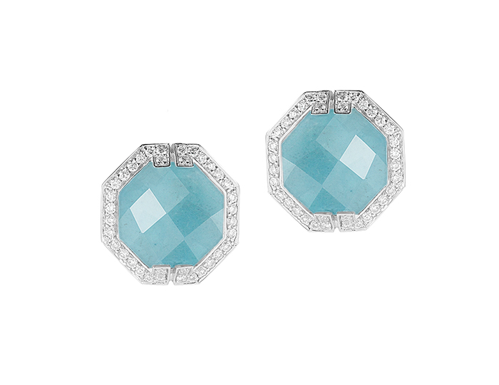 Ivanka Trump Patras Collection aquamarine and round brilliant cut diamond earrings in 18k white gold.