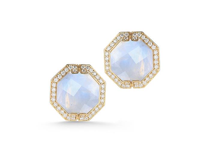 Ivanka Trump Patras Collection rainbow moonstone and round brilliant cut diamond earrings in 18k yellow gold.