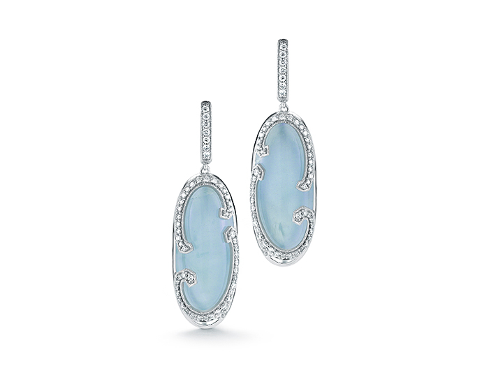 Ivanka Trump Athénée Collection aquamarine and diamond earrings in 18k white gold.