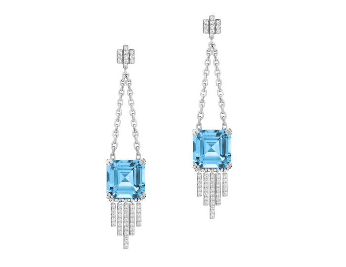 Ivanka Trump Empire Collection blue topaz and diamond earrings in 18k white gold.