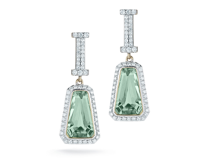 Ivanka Trump Empire Collection prasiolite and round brilliant cut diamond earrings in 18k yellow gold.