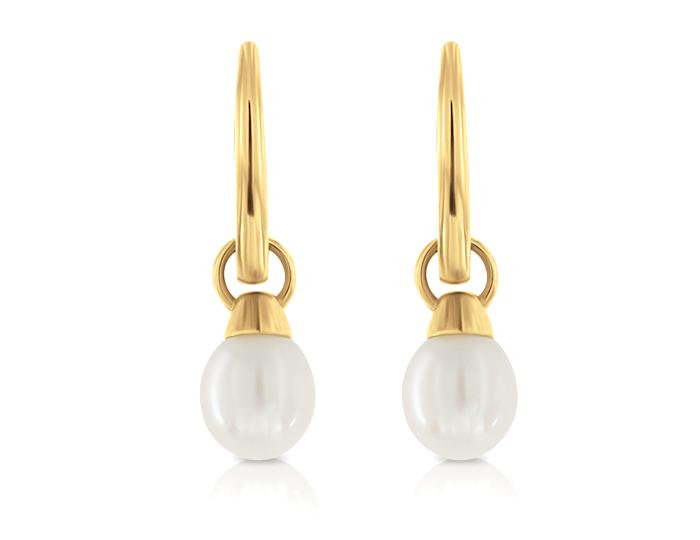 Pearl earrings in 18k yellow gold.