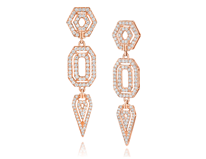 Ivanka Trump Montmartre Collection round brilliant cut diamond earrings in 18k rose gold.