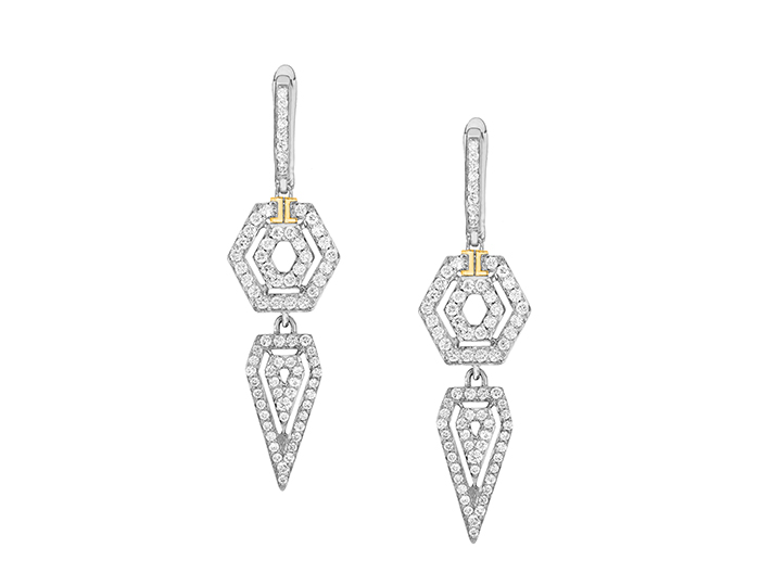 Ivanka Trump Montmartre Collection round brilliant cut diamond earrings in 18k white gold.
