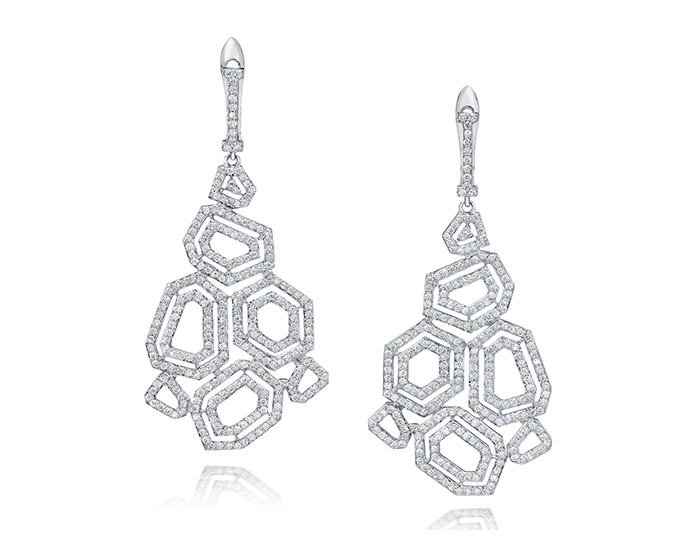 Montmartre Collection round brilliant cut diamond earrings in 18k white gold.