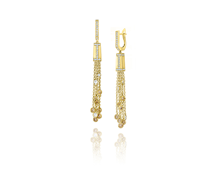 Ivanka Trump Tassel Moderne Collection champagne and white round brilliant cut diamond earrings in 18k yellow gold.