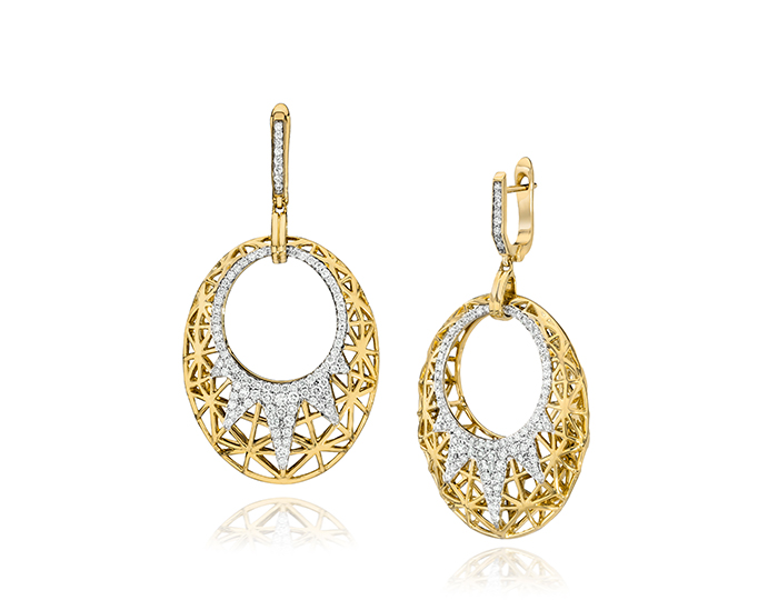 Ivanka Trump Liberté Collection round brilliant cut diamond earrings in 18k yellow gold.