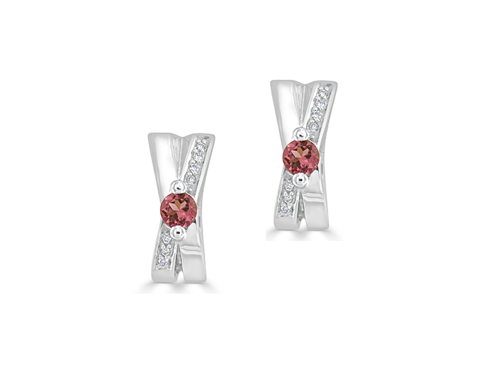 Pink tourmaline and round brilliant cut diamond earrings in 18k white gold.