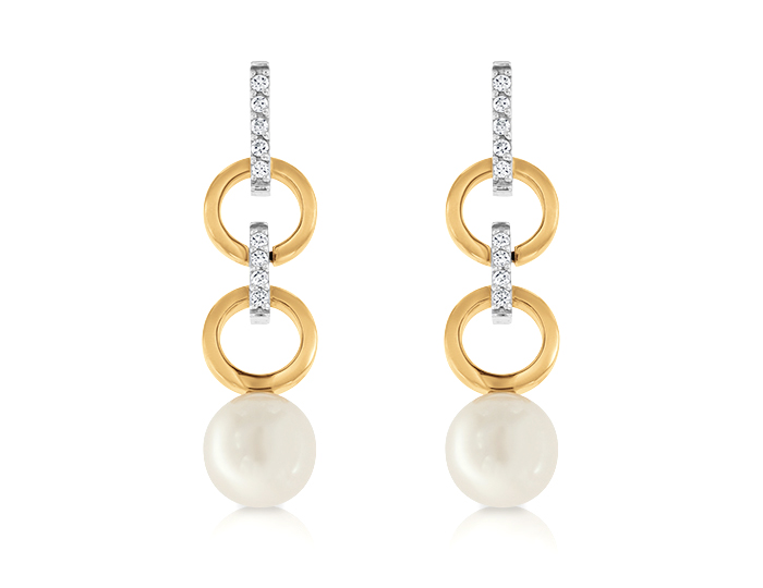 Pearl and round brilliant cut diamond earrings in 18k rose and white gold.