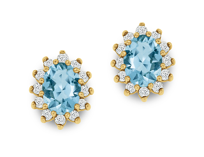 Aquamarine and round brilliant cut diamonds in 14k yellow gold.