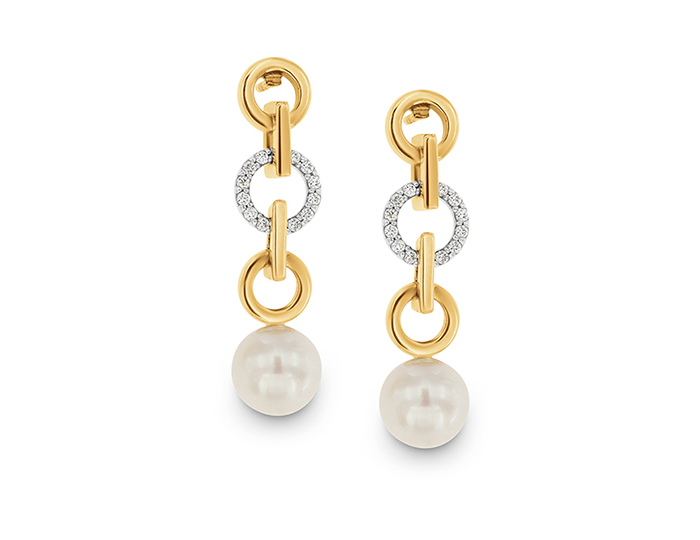 Cultured pearl and round brilliant cut diamond earrings in yellow gold.