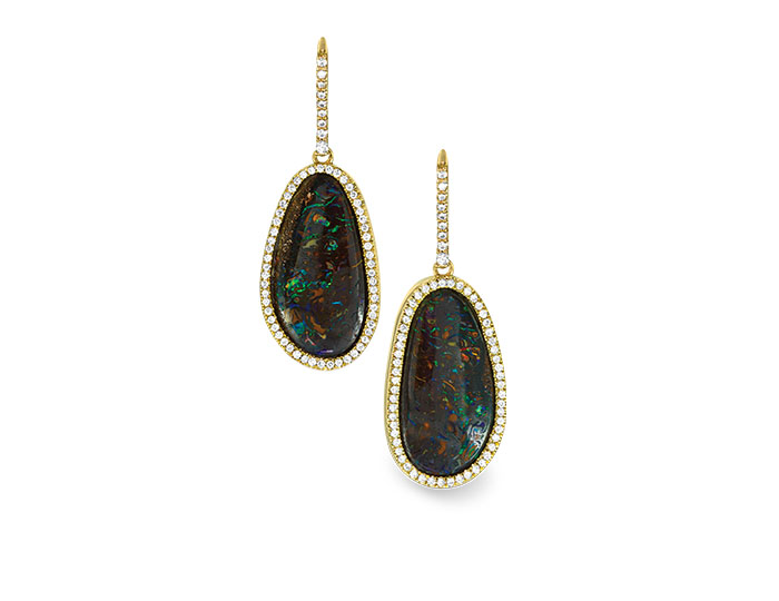 Boulder opal and round brilliant cut diamond earrings in 18k yellow gold.