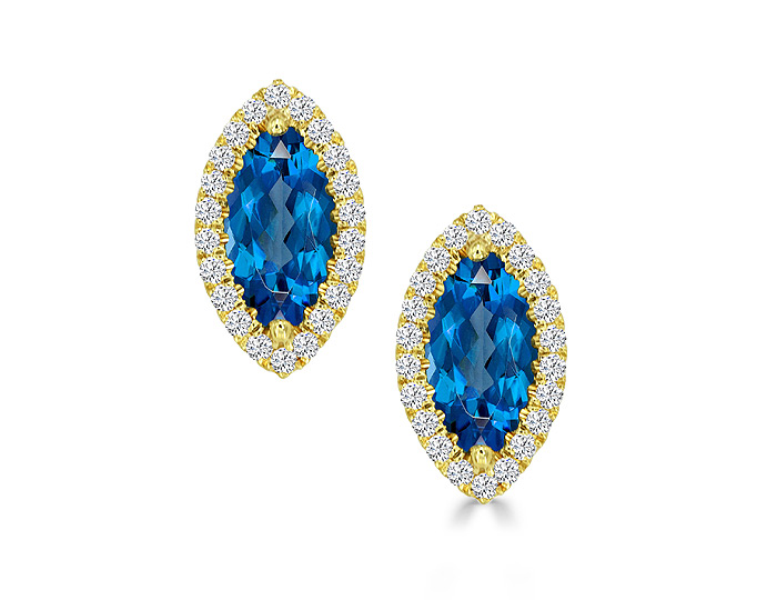 Marquise cut aquamarine and round brilliant cut diamond earrings in 18k yellow gold.